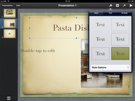 If you have selected text, you can change the style, the typography or the how the text fits into the text box.