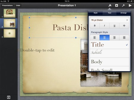You can change the font, font size, there are also a range of styles that fit into the chosen theme.