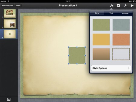 Select a shape and again similar options on how it looks and fits onto the slide.