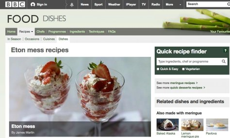 Screengrab from BBC Food website - Eton Mess