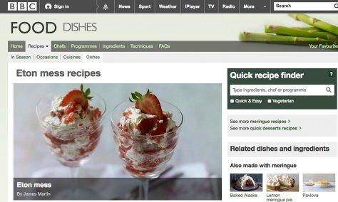 Screengrab from BBC Food website - Eton Mess
