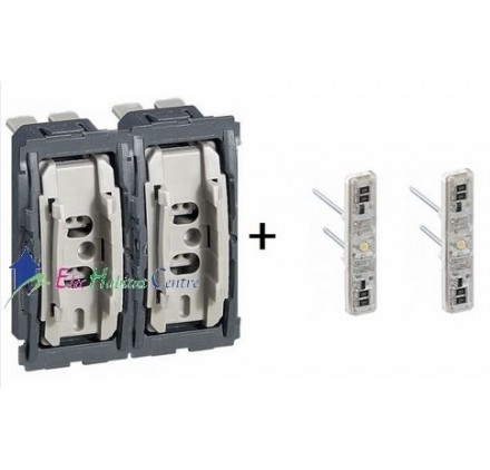 mecanisme double bouton poussoir temoin 6a celiane legrand 067034x2 067688x2