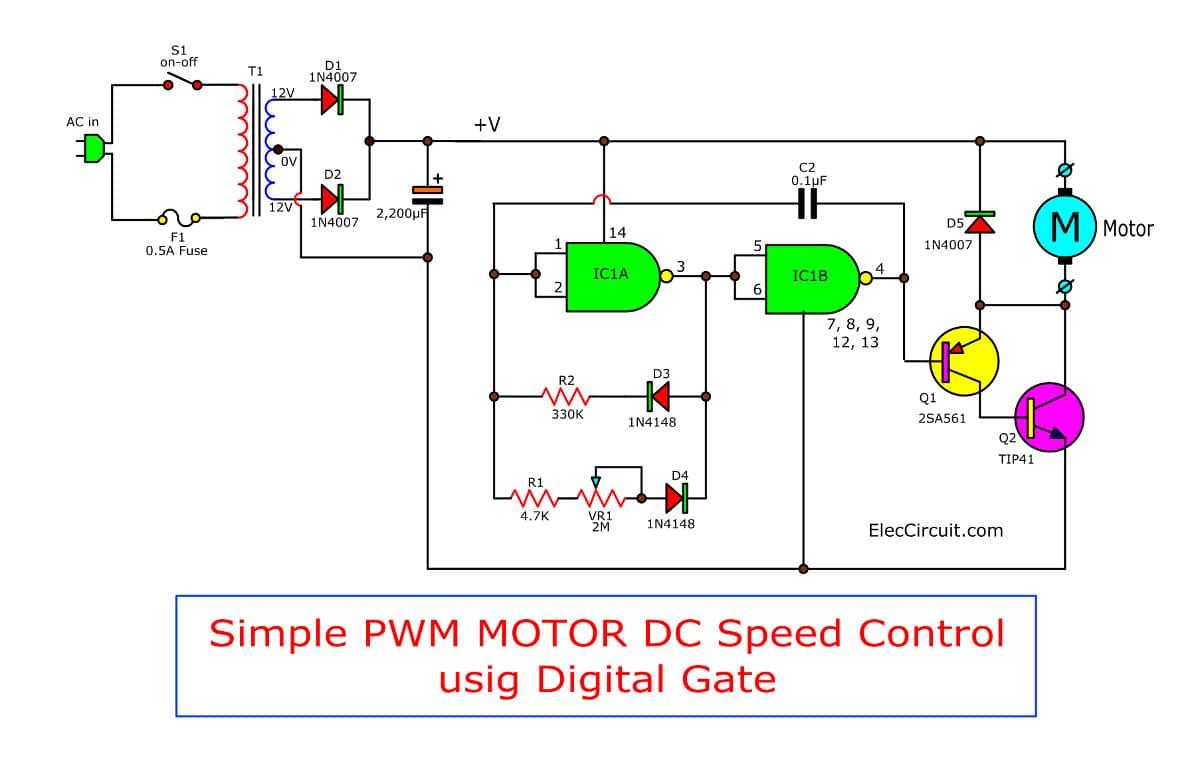 Simple PWM Motor Control Circuit Using IC 4011