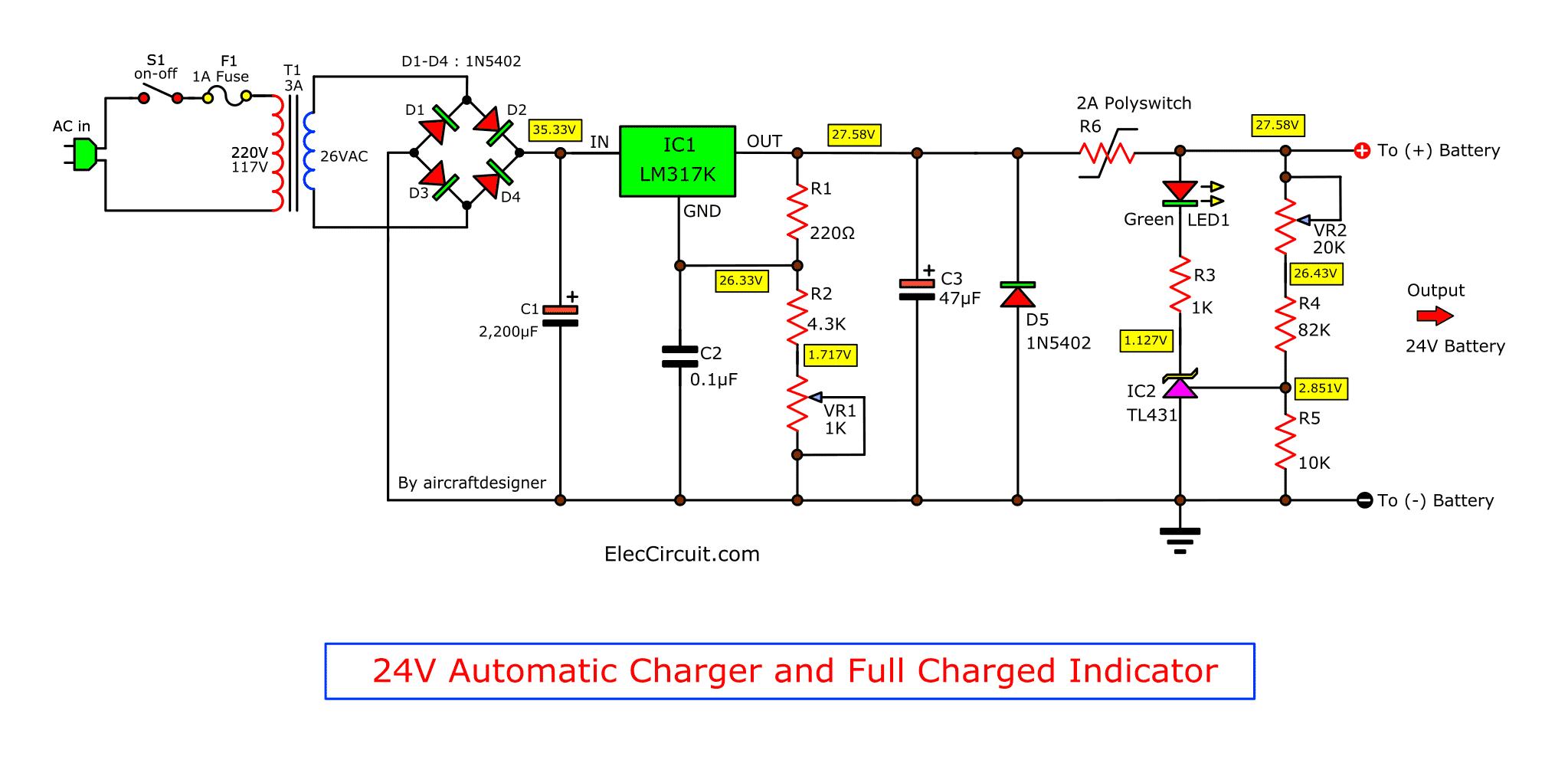 4 Lead Acid Battery Charging Circuit Using LM317