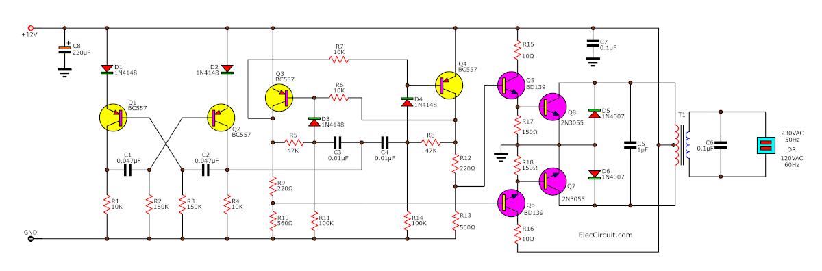 100w Inverter Circuit 12V To 220V 100W By Transistor