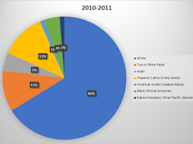 Pie chart of 2010-2011 demographics of the Puyallup School District. White students are 66%, Two or More Races are 11%, Asian 5%, Hispanic/Latino are 12%, American Indian/Alaskan Native 1%, Black/African American 4%, and Native Hawaiian/Pacific Islander 1%.
