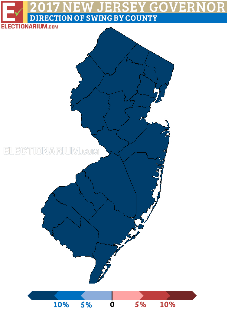 New Jersey Governor Election 2017 election results map direction of swing