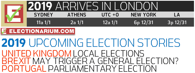 New Years Eve 2018 and 2019 Elections UTC+0 London