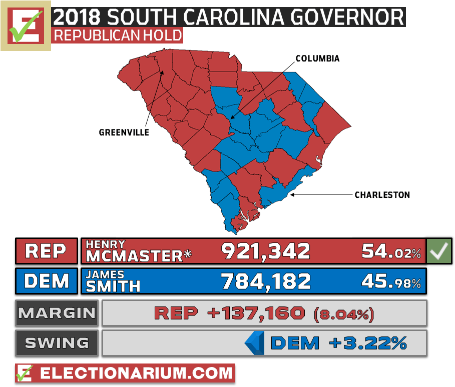 South Carolina Governor Election Results 2018