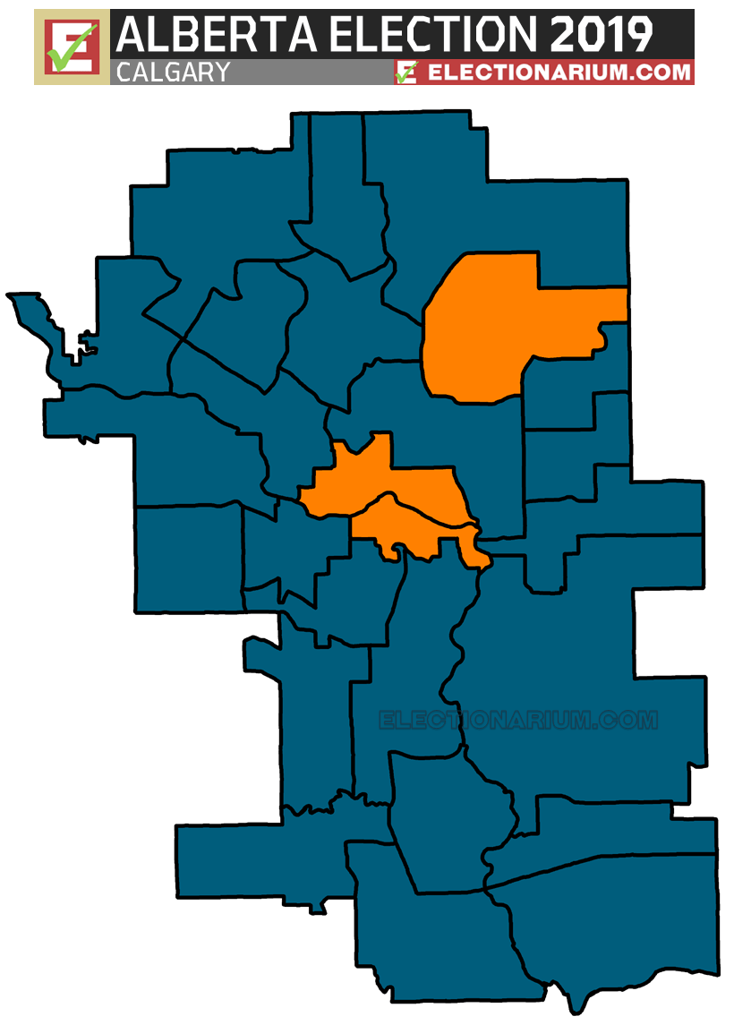 2019 Alberta Election Results - Calgary Seats Map