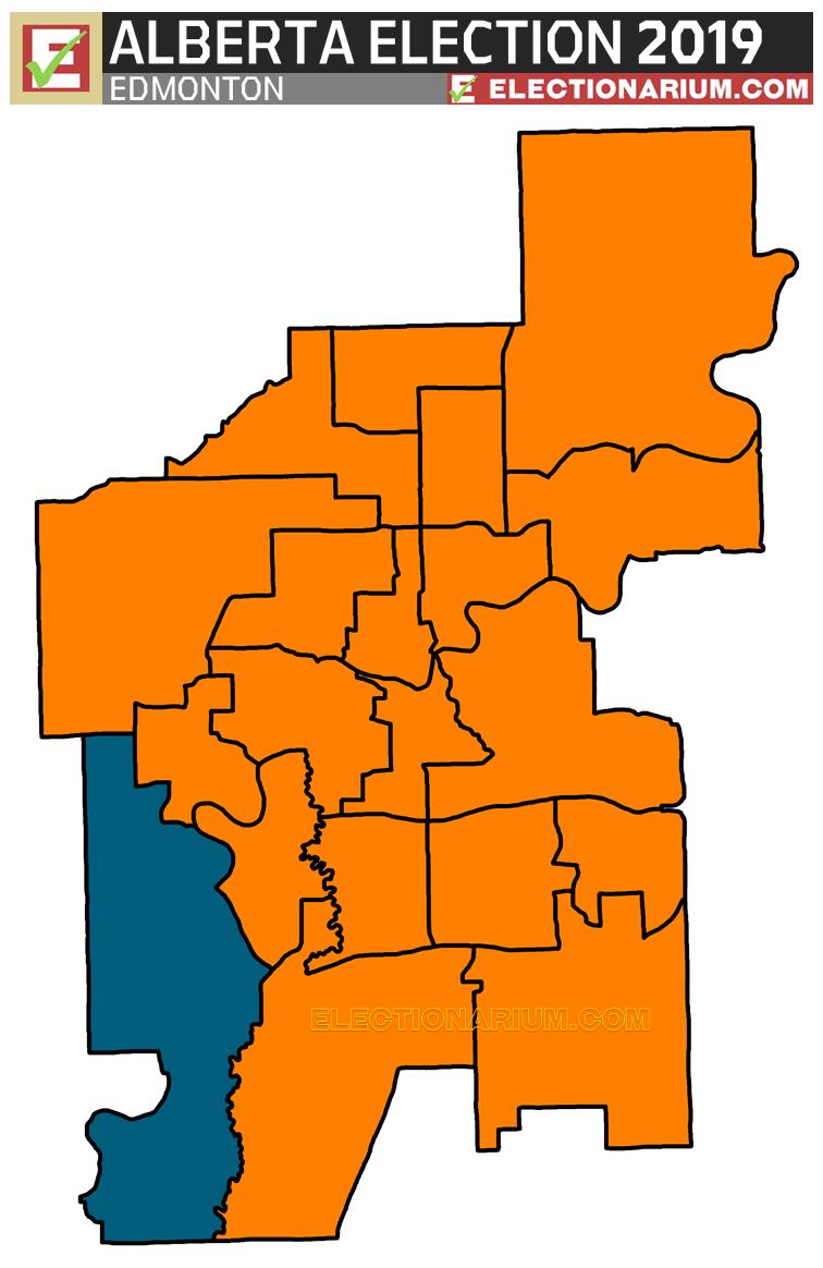 2019 Alberta Election Results - Edmonton Seats Map