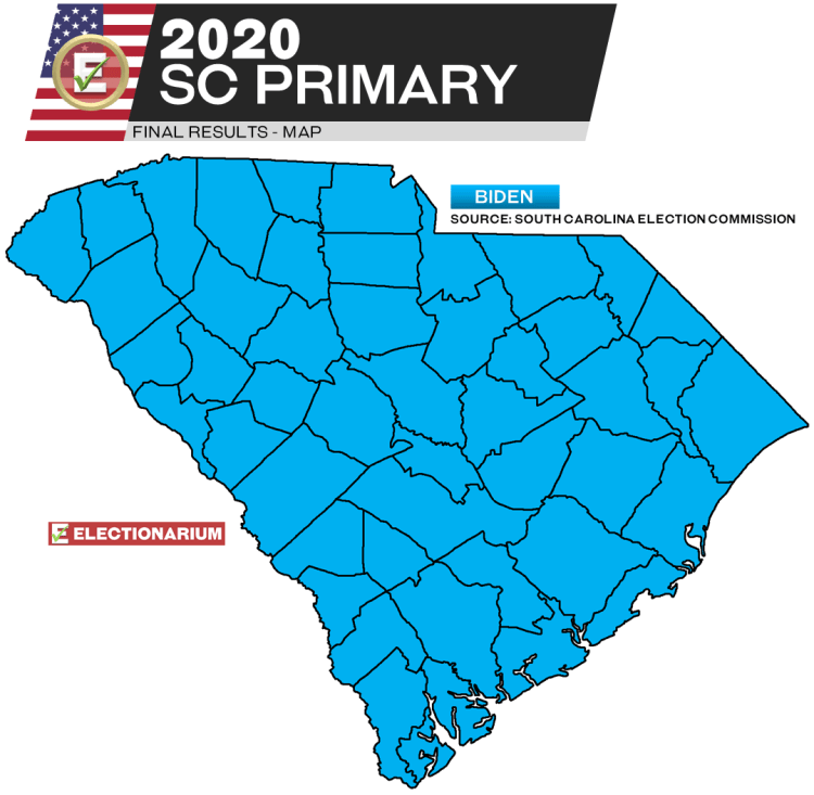 2020 South Carolina primary results - Dem map