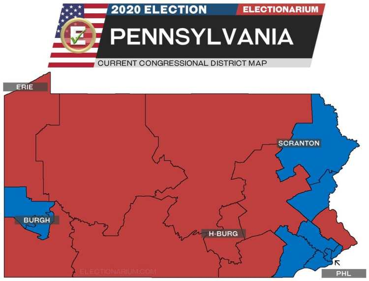 2020 Pennsylvania House Races - pre-election map