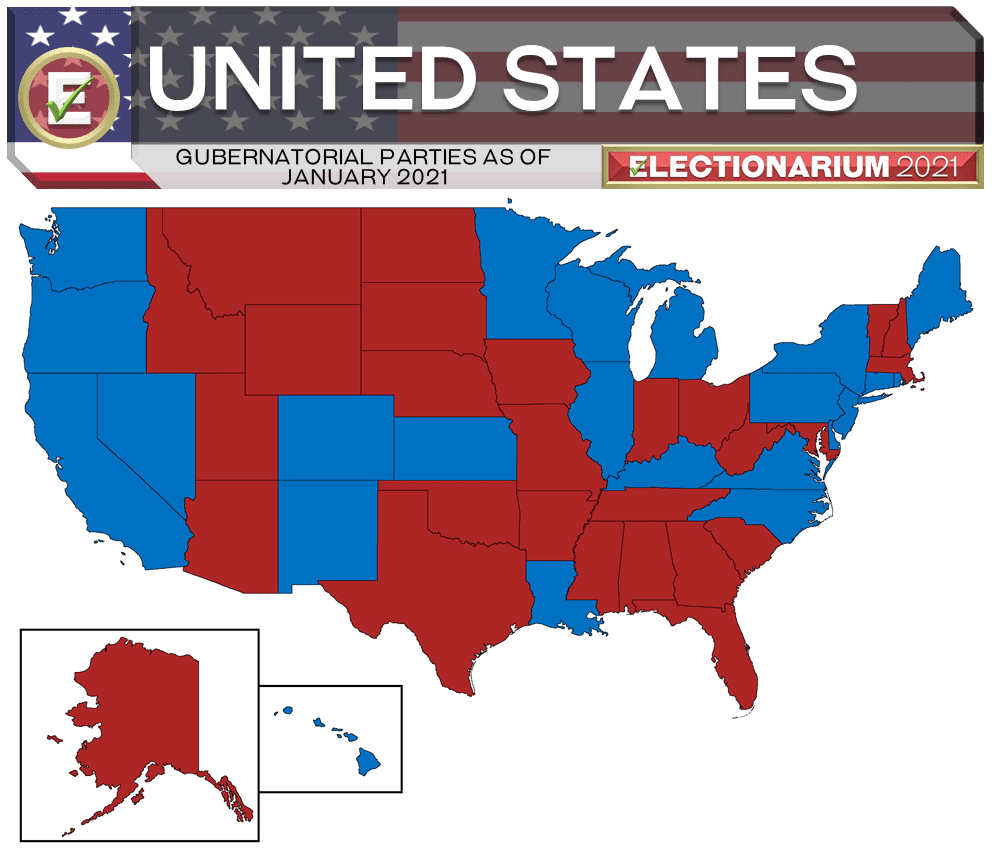 United States Governors as of 1-13-21