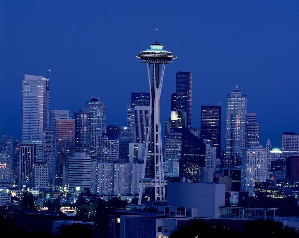 The Seattle Space Needle at night.