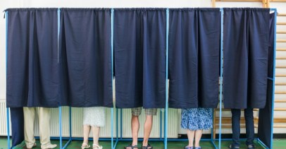 Voters in polling booths