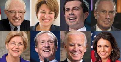 Images of the candidates from the Super Tuesday primary: Bernie Sanders, Amy Klobuchar, Pete Buttigieg, Michael Bloomberg, Elizabeth Warren, Tom Steyer, Joe Biden, and Tulsi Gabbard