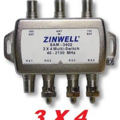 Directv Satellite Wiring Diagram Recessed Lighting 3x4 Zinwell Switch Lnb Sw34 2x4 Bell Dish Network Quad F, Electorica