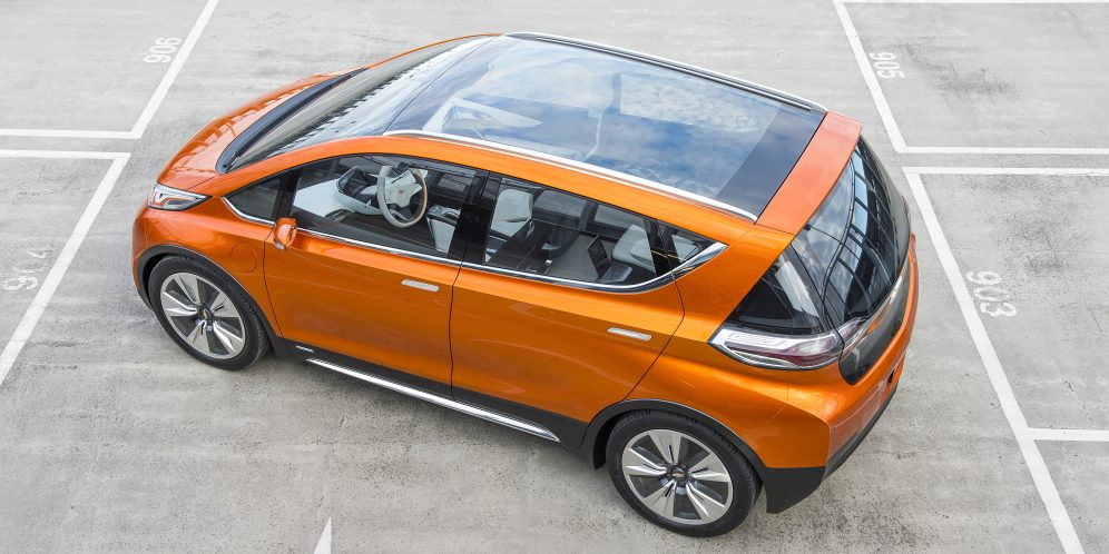 2015 Chevrolet Bolt EV Concept all electric vehicle. Overhead view of concept with glass roof. Bolt EV Concept features an unexpectedly large interior from a subcompact crossover EV. Chevy's experience gained from both the Volt and Spark EV to make an affordable, long-range all-electric vehicle to market. The Bolt EV is designed to meet the daily driving needs of Chevrolet customers around the globe with more than 200 miles of range and a price tag around $30,000.