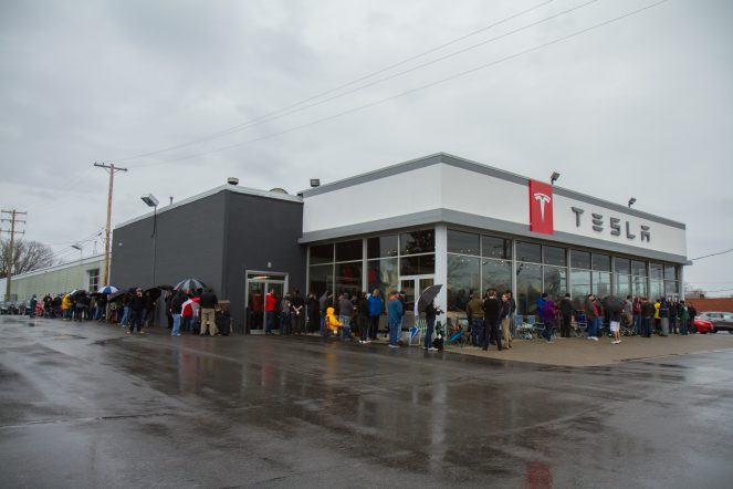 The line at Tesla Cleveland around 9:30 am.