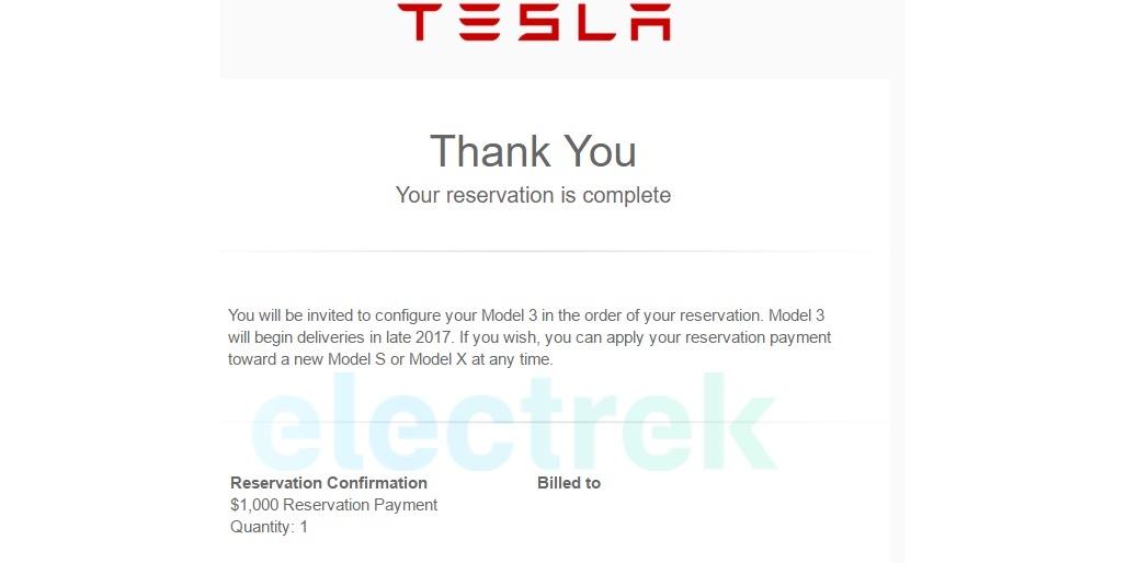 Tesla model 3 number of reservations