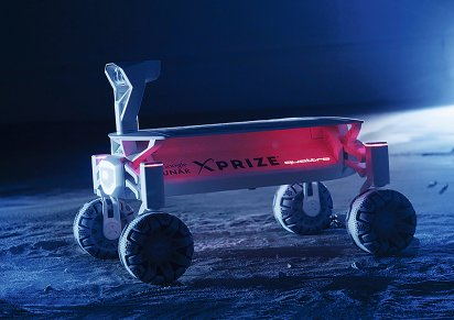 MISSION TO THE MOON: Audi lunar quattro Battery under a solar panel – The vehicle supplies itself with energy.