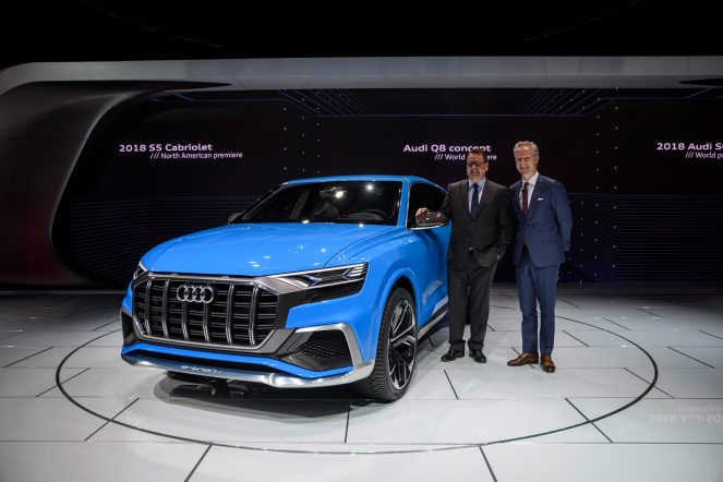 Dr. Dietmar Voggenreiter (Member of the Board of Management of AUDI AG for Sales and Marketing), Scott Keogh (President Audi of America), next to the Audi Q8 concept, 2017 North American International Auto Show.
