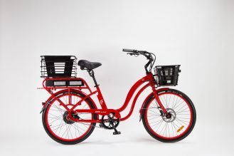 "Red Model S ""Step-Through"" + rear basket, front battery basket"
