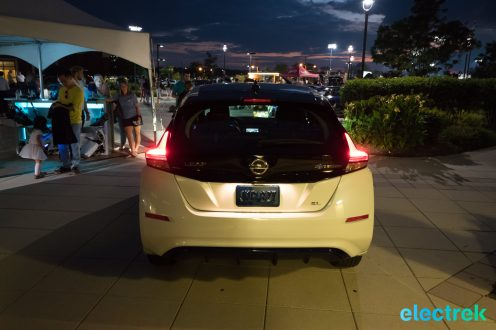 107 lights on tail rear brake dark night New Nissan Leaf 2018 National Drive Electric Week Bridgewater NJ-64