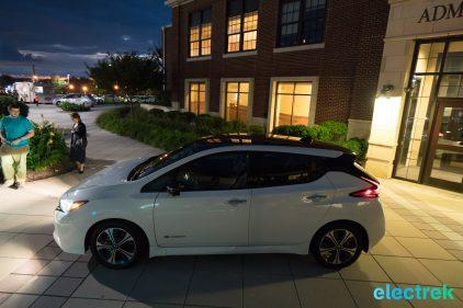 116 sideview dark side night lights New Nissan Leaf 2018 National Drive Electric Week Bridgewater NJ-73