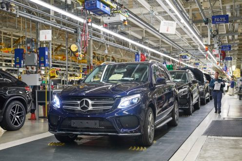 Mercedes-Benz U.S. International (MBUSI): SUV-Montage im Mercedes-Benz Werk Tuscaloosa in Alabama. Mercedes-Benz U.S. International (MBUSI): SUV assembly in the Mercedes-Benz Tuscaloosa plant in Alabama.