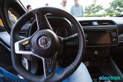 95 steeringwheel dashboard interior New Nissan Leaf 2018 National Drive Electric Week Bridgewater NJ-52