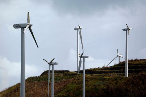 "Damaged wind turbines are seen in the aftermath of Hurricane Maria in Naguabo, Puerto Rico on October 2, 2017. President Donald Trump strenuously defended US efforts to bring relief to storm-battered Puerto Rico, even as one island official said Trump was trying to gloss over ""things that are not going well,"" two weeks after devastating Hurricane Maria left much of the island without electricity, fresh water or sufficient food. / AFP PHOTO / Ricardo ARDUENGO (Photo credit should read RICARDO ARDUENGO/AFP/Getty Images)"