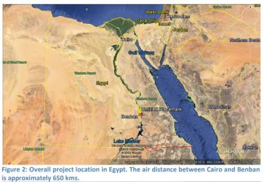 Figure 2: Overall project location in Egypt. The air distance between Cairo and Benban is approximately 650 kms.