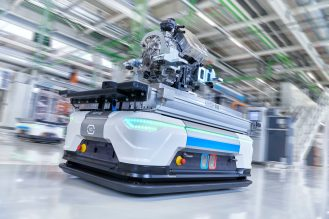 In the picture: driverless transport vehicle with a finished electric motor