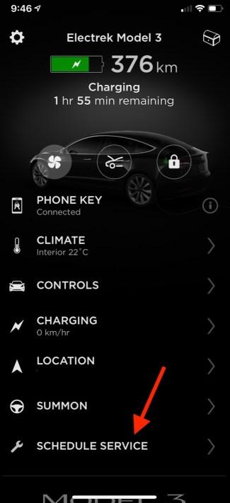 Tesla mobile app service 1