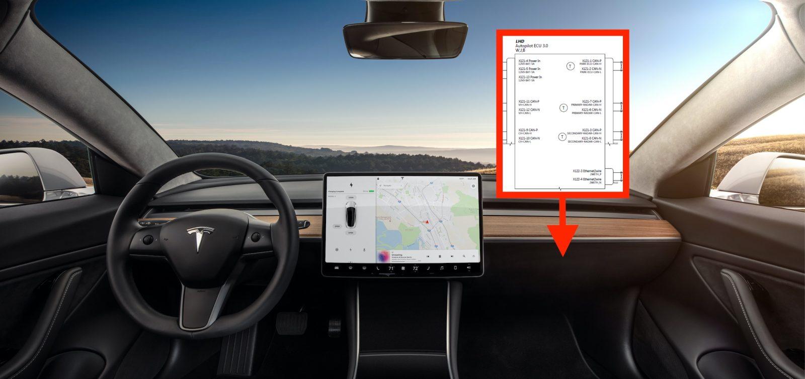 tesla reveals new self driving autopilot hardware 3 0 computer diagram ahead of launch [ 1600 x 754 Pixel ]