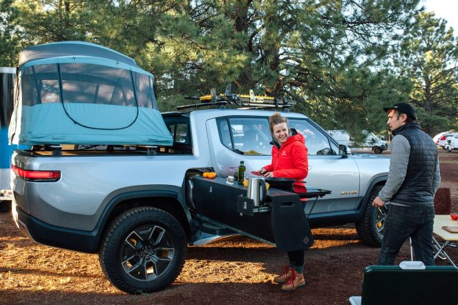 Rivian electric pickup truck camper 4