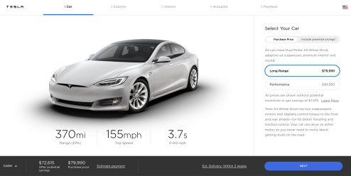 New Tesla Model S configurator