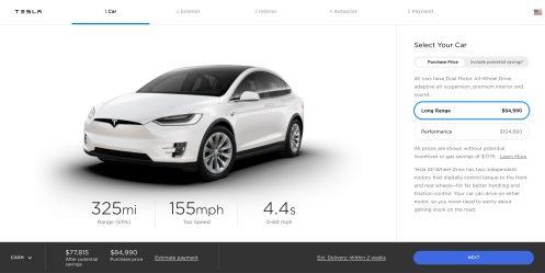 New Tesla Model X configurator