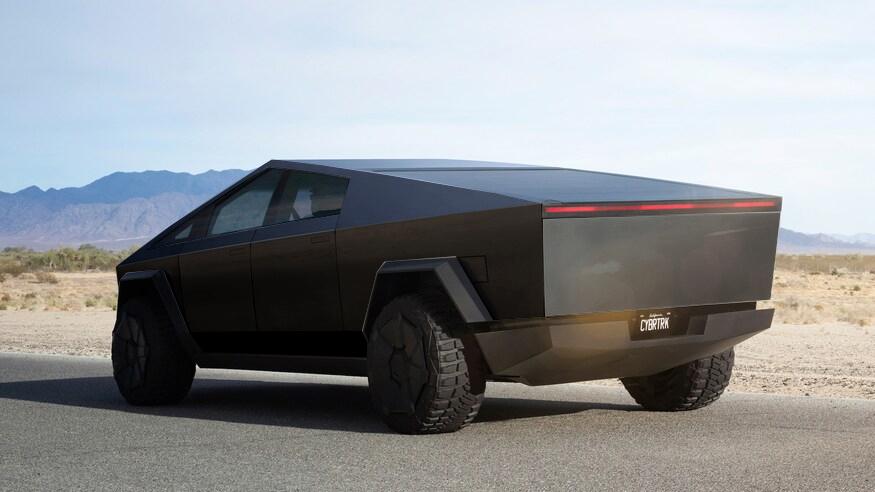 Tesla Cybertruck black 3/4 back
