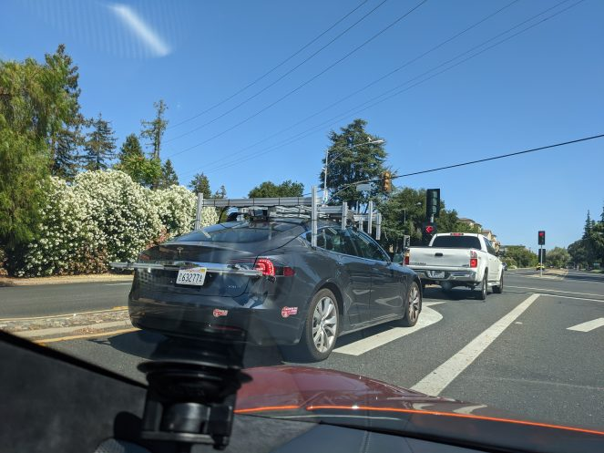 Tesla spotted with sensor rig 1