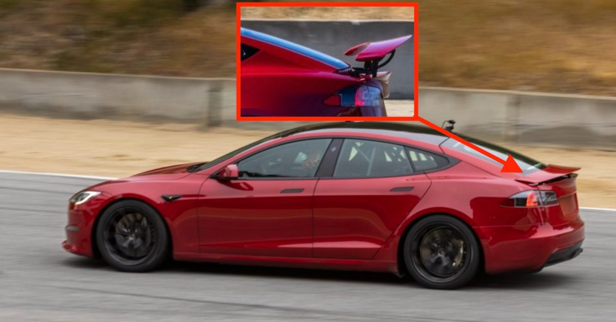 Tesla Model S Plaid prototype with insane retractable spoiler spotted on race track - Electrek