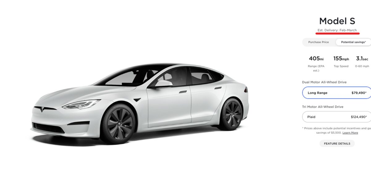 Tesla pushes estimated delivery dates for both Model S trims
