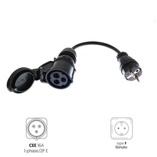 CEE 3P 16A female to Schuko male adapter