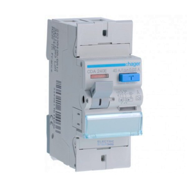 Differential circuit breaker (RCD) Type A – 40A, 30mA, 2 poles