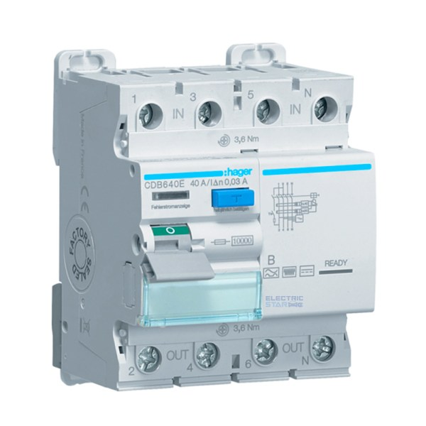 Differential circuit breaker (RCD) Type B – 40A, 30mA, 4 poles
