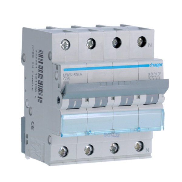 Circuit breaker 16A four poles (3P + N)