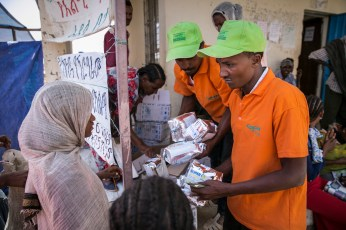 At a Concern supplememntary food distribution at Hamusit Health Center in East Belessa, Northern Ethopia. The distributions target under-five children and pregnant and breastfeeding mothers.