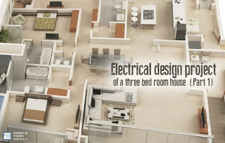 wiring diagram for house lights what is a sample space electrical design project of three bed room part 1